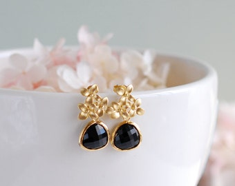 Black Onyx Glass Post Earrings Black Earrings Gold Cherry Blossoms Flower Jet Black Teardrop Stud Earrings Dangle Earrings Drop Earrings