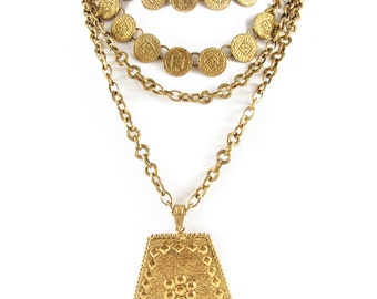 Roger Scemama Signed Vintage Gold Tone Multi Chain Coin Necklace c.1950
