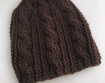 Crocheted Brown Cabled Hat. Textured. Unisex. Adult. Acrylic.