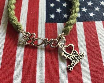 "AMC300.1015  Boot Band Bracelet; Love w/I ""heart"" my soldier"