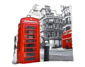 RED PHONE BOX london novelty printed cushion cover