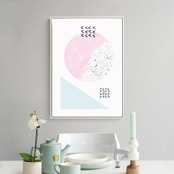 DOUX PRINTEMPS #4/ Abstract art, 24x36, minimalist art print, Scandinavian style, nordic design, pink, blue