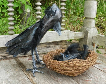 Crow and Baby - Art Shoe Sculpture