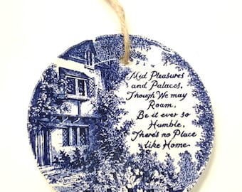 Royal Crownford Ironstone | There's No Place Like Home Wall Decor | Blue and White Decorative Plate