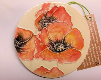 Breezy Poppies WALL HANGING TILE in unique round shape  100% handmade ceramic-watercolor tile makes great gift for her Pa
