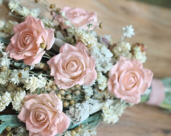Dried Flower Wedding Bouquet | Peach, Sage and Cream Wildflower Bouquet |The Sandra Rue Collection Bridal Bouquet
