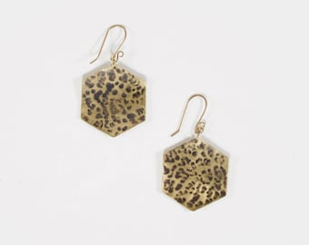 Earrings darkened hammered brass