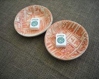 Mahjong - Mahjong petit bol - anneau plat - plat de Dip - tarte cache-- bol Oriental - Mahjong de céramique - Mahjong cadeau