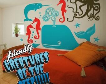 sea creatures wall decal set, undersea animals, octopus sticker art, wall art, FREE SHIPPING
