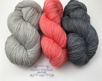 HAND DYED YARN / Indie Dyed Yarn / Sock Yarn / Superwash Merino /  Sassy Kit 2