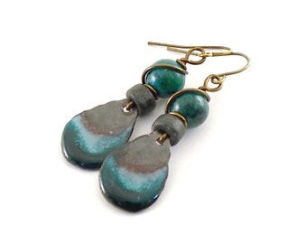 Handmade Rustic Turquoise Earrings, Enameled Earrings, Teardrop Earrings, Artisan  Earrings, Brass Earrings, Boho Earrings, Small, AE118
