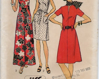 Dress With Opening At Slightly Lowered Round Neckline Back Zipper Plus Size 16 Bust 38 Sewing Pattern 1973 Jiffy Simplicity 5668