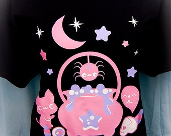Witches' Brew Cauldron Kitty, Spider and Ghost Graphic T Shirt Kawaii Fairy Kei Pastel Goth