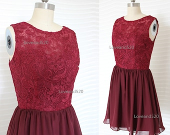 Wine red lace prom dress, burgundy short bridesmaid dress, burgundy lace dress chiffon bridesmaid dresses burgundy formal dress New Arrive