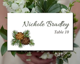 """Winter Wedding Place Card Template    Rustic Escort Card """"Pinecone Garland"""" Printable Wedding Place Card FLAT - Instant Download Escort Card"""