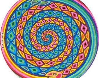 Cosmic Circle, Spiral Snakes, Window cling, Sun catcher, Divine Serpent, Pagan, Ouroboros, Ecofriendly Vinyl Sticker Art, made in California