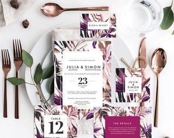 Mod Jungle Wedding, Save the Date Invitation, Menu, Tags, Thank You, Placecards, Details (DIY Printables)