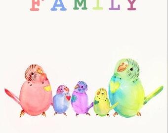 Lovebird family watercolour prints
