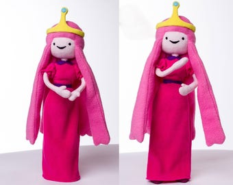 Adventure Time inspired - Princess Bubblegum handmade doll, with bendy arms and legs, 17 in high, Bubblegum Princess plush