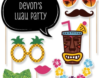 Tiki Luau Photo Booth Props - Tropical Hawaiian Party Photobooth Kit with Custom Talk Bubble - Luau Summer Party Decorations
