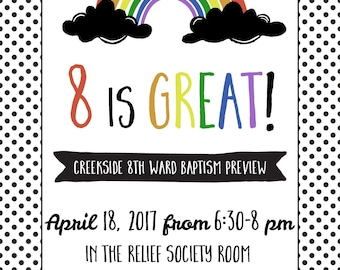 Rainbow 8 is Great {Baptism Preview Invite}