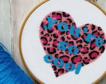 So Cool Heart Cross Stitch Pattern PDF ,Leopard Print Modern Cross Stitch Sampler - Instant Download