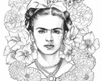 Frida Kahlo illustration design by Marisa Jiménez. LIMITED EDITION.