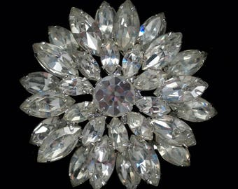 unsigned delizza and elster for weiss over the top tiered rhodium brooch 3593