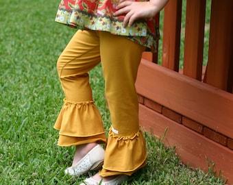 Mustard yellow goldenrod knit leggings with double ruffles sizes 12m - 14 girls