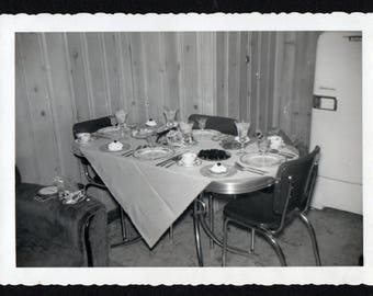 Vintage Snapshot Photo Fully Loaded Table Dinner's Ready 1950's, Original Found Photo, Vernacular Photography