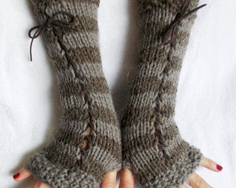 Christmas Gift for Her Fingerless Gloves Knit Women Long Corset Arm Warmers in  Grey Brown Taupe