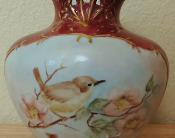 Hand Painted Pink Poppies and Bird Vase artist signed