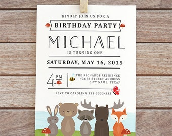 Woodland animals birthday Invitation, 1st birthday invite, birthday invite, Woodland birthday invitation girl, forest animals party  137