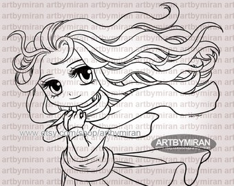 Digital Stamp - Delightful Abby (#335), Digi Stamp, Coloring page, Printable Line art for Card and Craft Supply