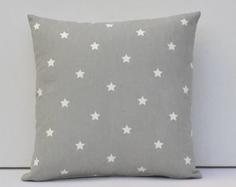 """Grey Star Pillow Cover, Stars Cushion Cover, Grey Stars  Pillow Cover, Dusky Grey pillow cover Size 14"""", 16"""", 17, 18"""" , 20"""""""
