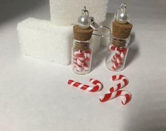 Earrings glass jar sugar barley polymer clay