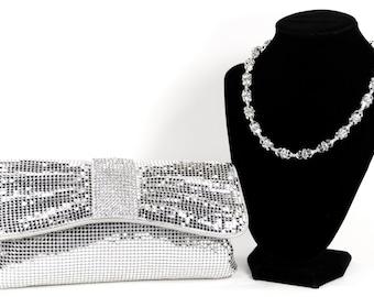 Silver mesh clutch. WHITING & DAVIS embellished evening bag! Vintage Inspired Clutch With Swarovski Crystal Handle/Necklace, Silver purse