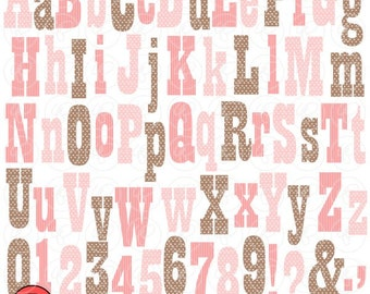 Cowgirls Brown & Pink Alpha: Clip Art Pack (300 dpi) Digital Images (transparent png) Card Making Digital Scrapbook Letters Numbers