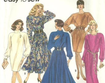 Simplicity 7999 Misses Dolman Sleeve Long & Short Slim and Flared Vintage Dress Sewing Pattern Size 6 - 8 - 10 - 12 Easy to Sew