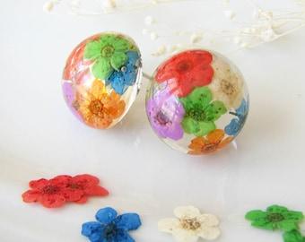 Resin Earrings Resin Jewelry Real Flower Earrings Stud Earrings Pressed Flower Earrings Rainbow Earrings