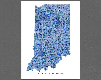 Indiana Map Print, Indiana State Art, IN Wall Decor