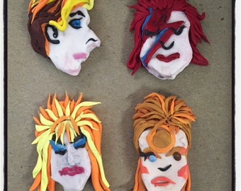 David Bowie Polymer Clay Brooches and Necklace Charms