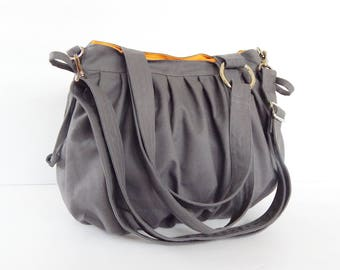 Sale - Grey Canvas Pumpkin Bag, shoulder bag, handbag, tote, crossbody bag, stylish, durable