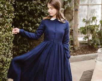 Edwardian Dress, Denim Dress, Long Linen Dress, Peter Pan Collar Dress, Linen Dress, Plus Size Dress, Midi Dress / Bluebell Classic Dress LS
