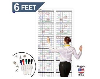 "Dry Erase Jumbo Yearly Calendar 72"" x 36"" Blank Undated Office Calendar 2018 Project Calendar Extra Large 12 Month Calendar"