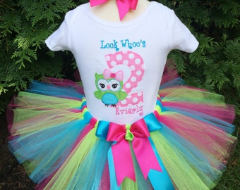 Owl 2nd Birthday Tutu Outfit - Owl 2nd Birthday - Owl Birthday Shirt - Birthday Tutu Set