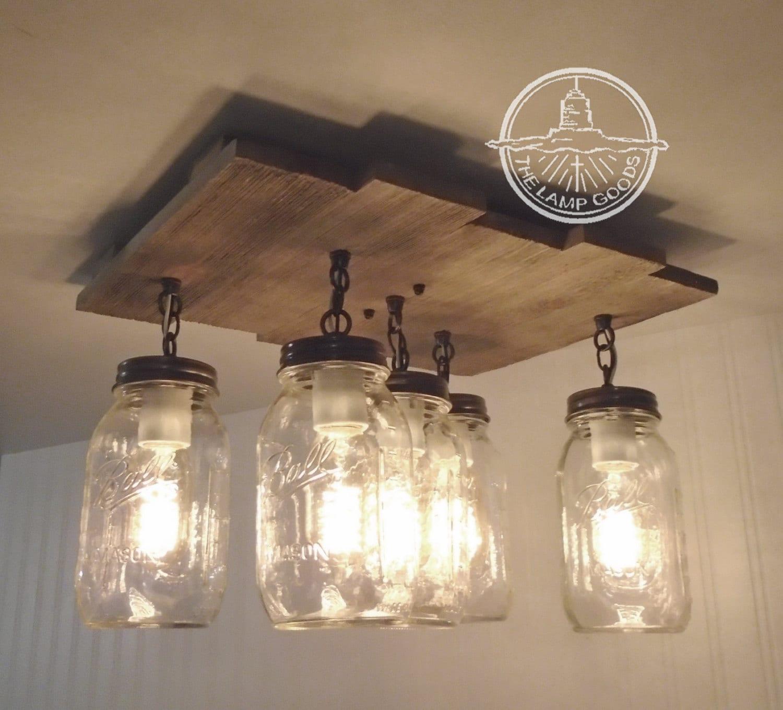 Mason jar flush mount ceiling light with reclaimed wood zoom arubaitofo Gallery