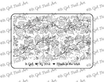 "IG302 Nail Art ""Mini"" Stamping Plate - hops, vines, leaves, beer, homebrew"