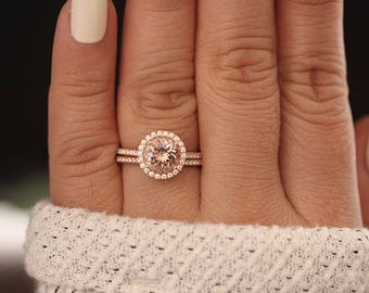Rose Gold Morganite Ring, Round 8mm Morganite Engagement Ring, Diamond Band, Bridal Ring Set, 10k Rose Gold Morganite Ring