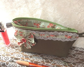 Make up pouch - khaki and pale green with orange flowers